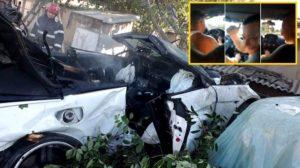 Șoferul mașinii era băut și a fugit de la fața locului. Ceilalți pasageri au fost răniți grav și au fost transportați la spitalul din Galați. Sursa foto: IPJ Tulcea